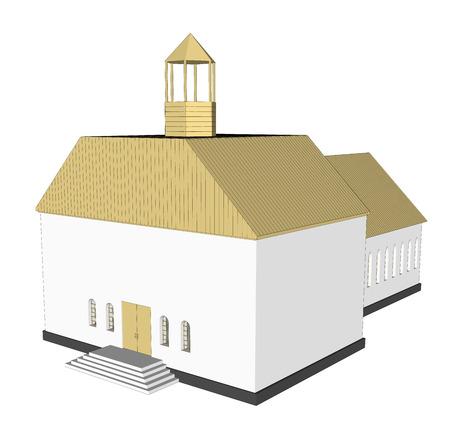 church interior: Vector building 3d Church  on white background icon art. 2