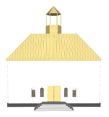 alter: Vector building 3d Church  on white background icon art. 3