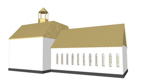 church interior: Vector building 3d Church  on white background icon art. 4 Illustration