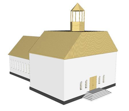 church 3d: Vector building 3d Church  on white background icon art. 6