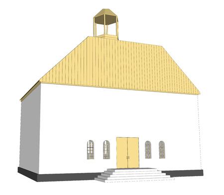 church interior: Vector building 3d Church  on white background icon art. 7