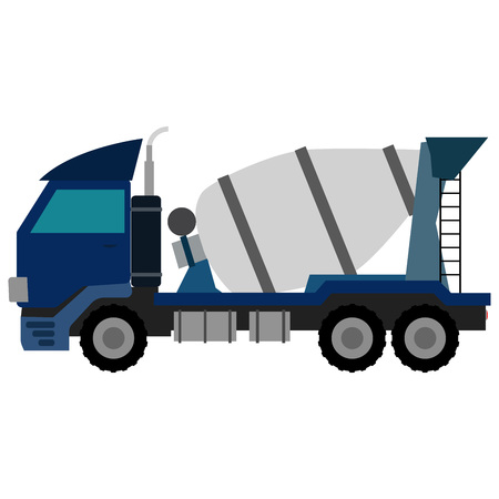 concrete mixer truck: Blue Concrete Mixer Truck. Flat style icons.