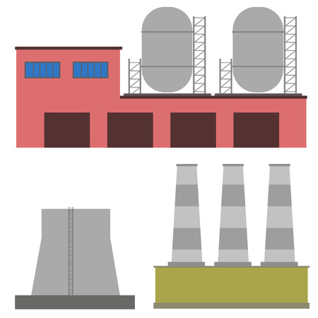manufactory: illustration Factory power electricity industry manufactory buildings flat decorative icons set isolated Illustration