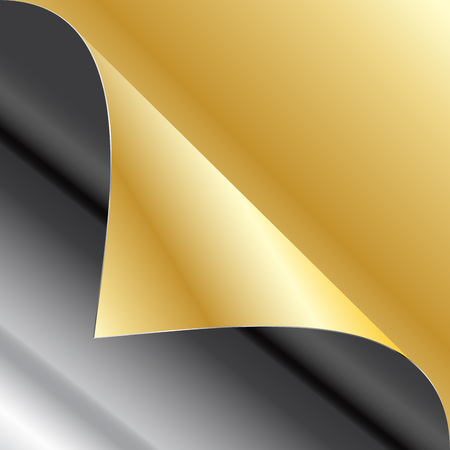 sheet iron: Sheet of iron and golden paper with a curl Illustration
