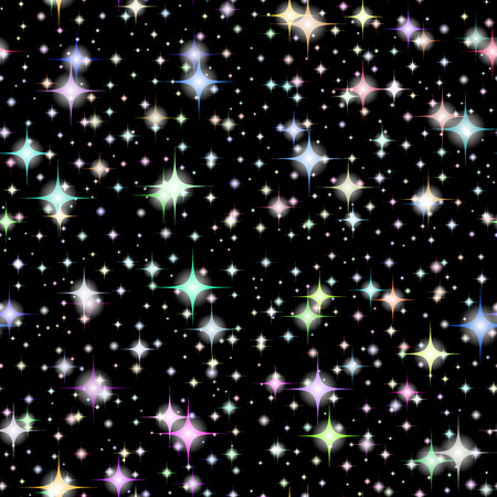 galaxies: Vector Realistic seamless of the night sky with color stars and galaxies. 6