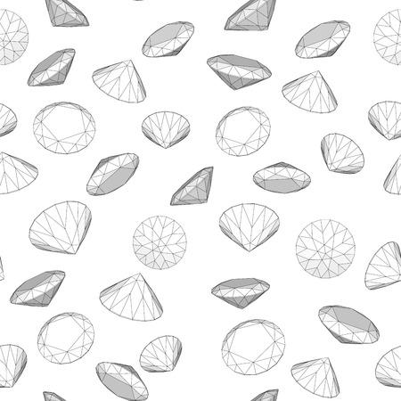 clarity: Vector illustration seamless diamond  on white pattern 1