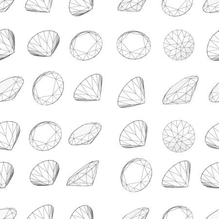 crystalline: Vector illustration seamless diamond  on white pattern 4 Illustration