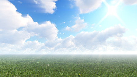Volume sunlight goes through clouds. 3d rendering light rays