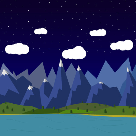 fishing village: Vector summer landscape. night landscape in the mountains. Solitude in nature by the river. Weekend in the tent. Hiking and camping. Vector flat illustration clouds Illustration