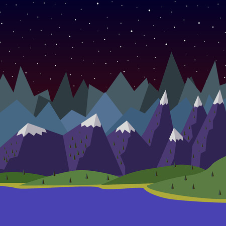 solitude: Vector summer landscape. night landscape in the mountains. Solitude in nature by the river. Weekend in the tent. Hiking and camping. Vector flat illustration trees Illustration