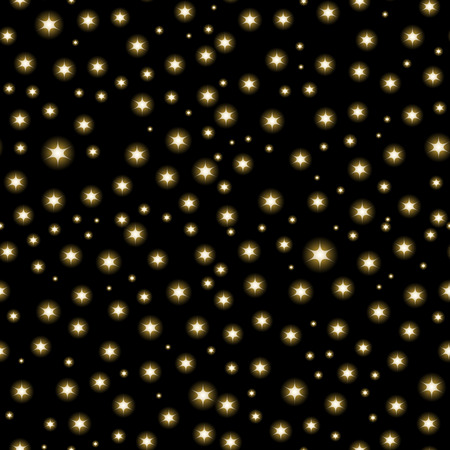 Vector seamless Space background, night sky and stars black and white seamless vector pattern Illustration