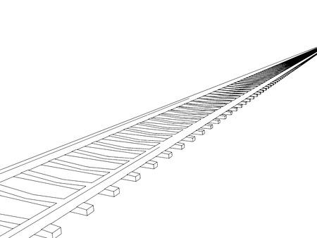 railway track: Vector image RAILWAY TRACK on white background Illustration