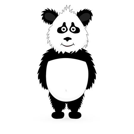 one panda: Vector Cutte Panda bear standing on white background
