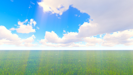 l agriculture: Green landscape field and sky clouds. Volume light Stock Photo