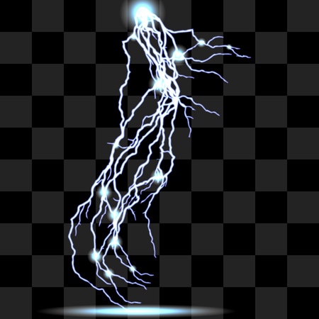 lighting effects: Vector isolated realistic lightnings with transparency for design. Thunder-storm and lightnings. Magic and bright lighting effects. Natural effects Colors effects