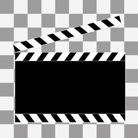 flick: art. Film clapper board icon on transparency background