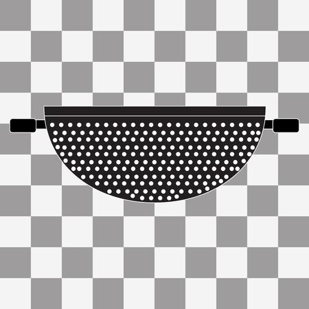 cilantro: Vector Black Colander Icon on transparency background