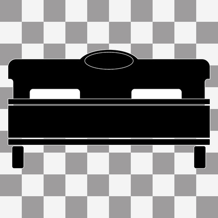 double bad: Vector black bed icon on transparent background
