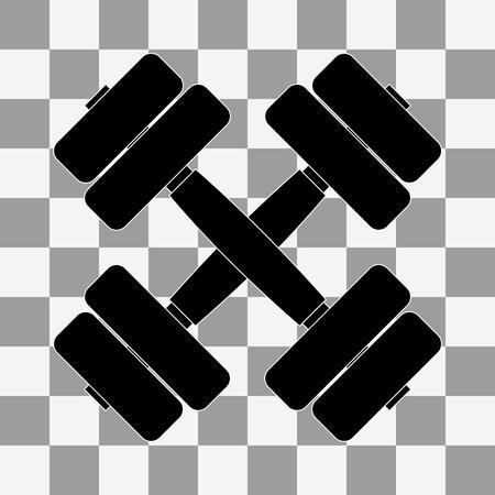 Vector heavy black dumbbell on transparent background