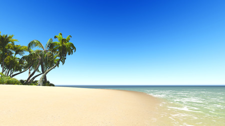 untouched: Untouched tropical sand beach blue sea and blue sky 3D rendering
