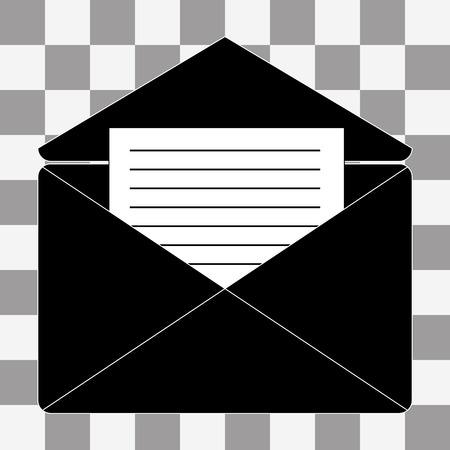 recipient: Vector black open letter icon on a transparent background