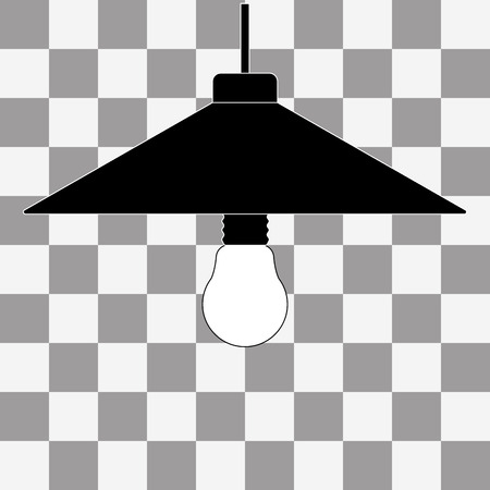 fluorescent lights: Vector black bulb icon on a transparent background