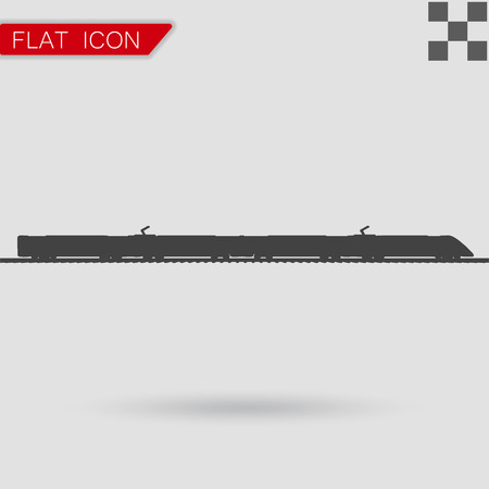 high speed railway: Vector Train Icon Flat Style with red mark