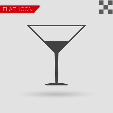 coctail: Vector black Coctail icon Flat Style with red mark Illustration