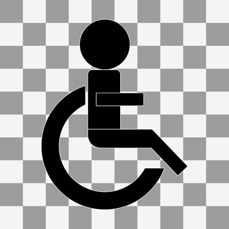 paralyze: Wheelchair Handicap Icon. vector on a transparent background