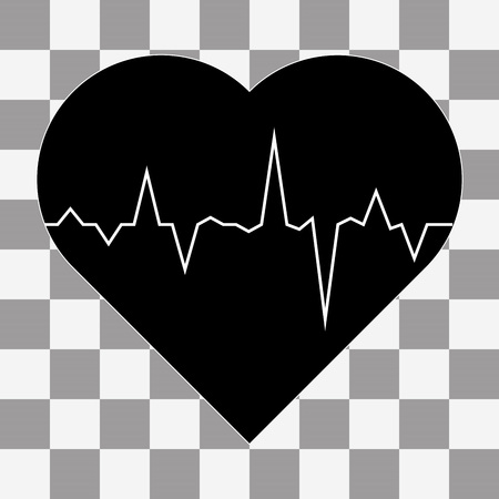 taking pulse: electrocardiogram icon vector on a transparent background Illustration