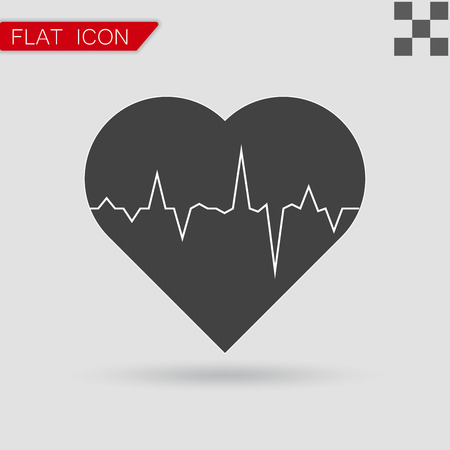 taking pulse: electrocardiogram icon vector Flat Style with red mark