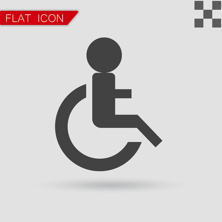 handicap: Wheelchair Handicap Icon. Flat Style with red mark Illustration