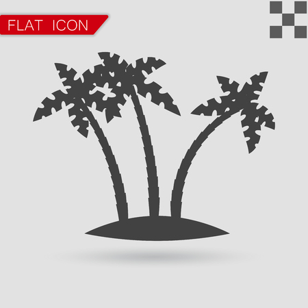 subtropical: Tropical palm trees vector Flat Style with red mark