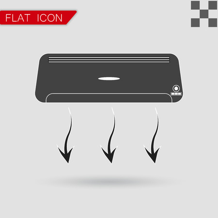 air condition: Air conditioner vector Flat Style with red mark
