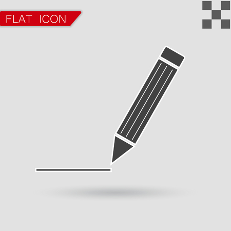 mark pen: Pen Icon Vector Flat Style with red mark