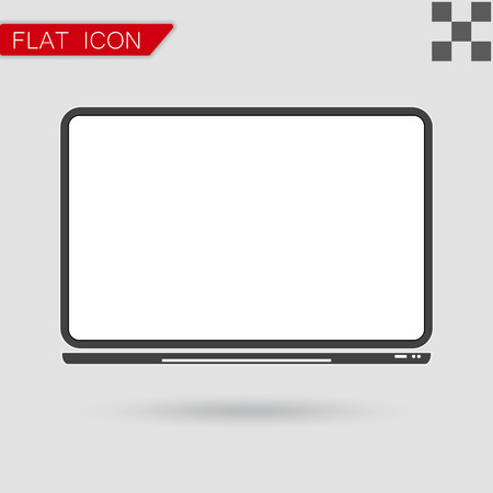 notebook computer: Vector notebook Computer Icon Flat Style with red mark