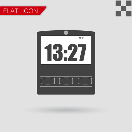 o'clock: Simple illustration of clock with hour Flat Style with red mark