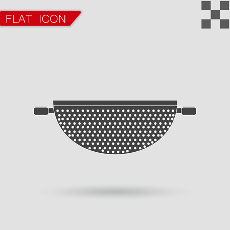 drainer: Vector Colander Icon Flat Style with red mark Illustration