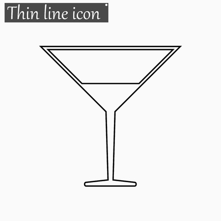 coctail: Coctail icon Vector Style Black thin line