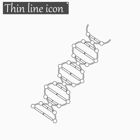heredity: image DNA Drawing icon Vector Style Black thin line