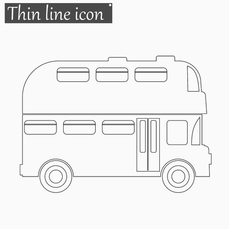 double decker bus: Double decker bus icon Vector Style Black thin line Illustration