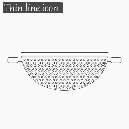 drainer: Colander icon Vector Style Black thin line Illustration