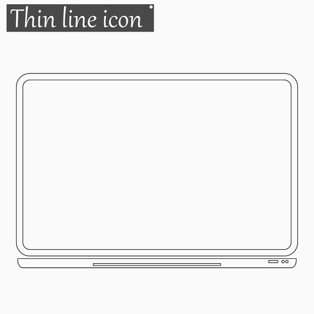 notebook computer: Notebook Computer icon Vector Style Black thin line