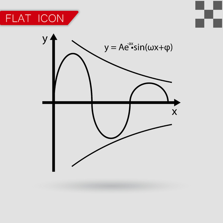 cos: Vector illustration of mathematics functions with red mark