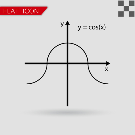 cosinus: Vector illustration of mathematics functions with red mark
