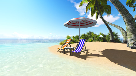 recliner: Beach and palms recliner blue sky and clouds 3D rendering