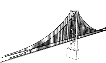 Vector Golden Gate Bridge - San Francisco - Side View Illustration
