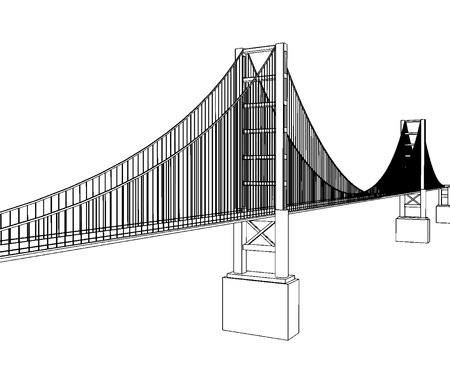 balustrade: Vector Golden Gate Bridge - San Francisco - Side View Illustration Illustration