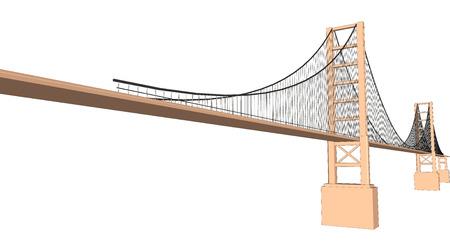Vector 3D bridge City buildings view on white Ilustrace