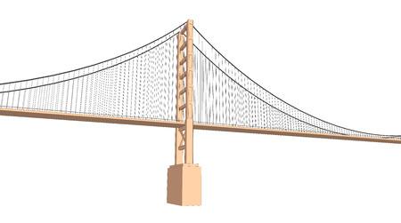 viaduct: Vector 3D bridge City buildings view on white Illustration